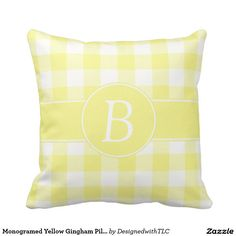 Monogramed Yellow Gingham Pillow