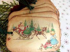 Santa and Hitch Hiking Angel // Vintage Image by MyCardCupboard, $4.50