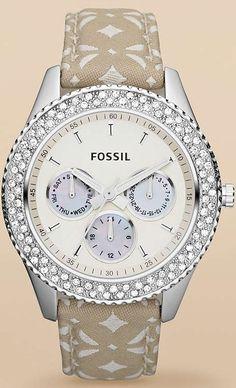 #Fossil #Watch , Fossil Women's Stella ES3053 Beige Nylon Analog Quartz Watch with White Dial