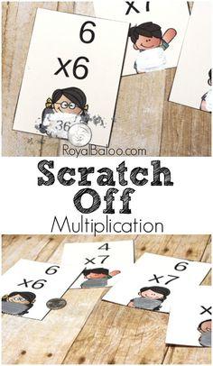 Multiplication practice!  Fun multiplication scratch off cards to memorize those pesky multiplication math facts.
