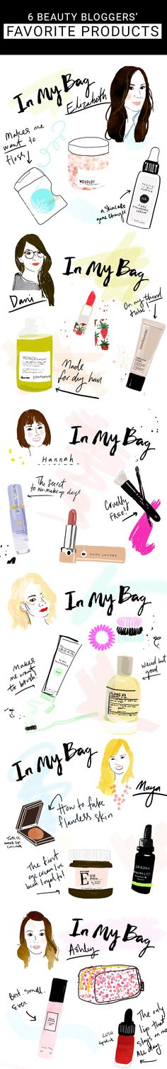6 Beauty Bloggers show you what favorite products are currently in their beauty bags! With adorable illustrations, of course!