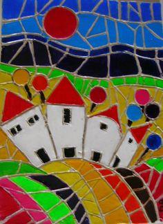 """mosaÏque """"Le village du bord de mer"""" paysage de bord de mer , style naif , très coloré, entierement fait à la main : Mosaiques par danyrocherleroi"""