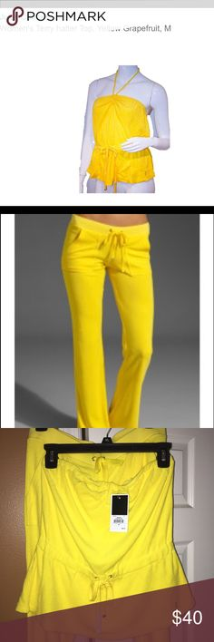 Juicy Couture Terry Set (pant&top) Juicy Couture Terry Jumpsuit includes Terry Halter Top and Terry matching pants. Color: grapefruit (dark yellow). Pants have front and back pockets. Pant back pockets have snaps. New/never worn. Pants does not have tag/ top does have tag. Smoke free home. Top originally $98/pants originally $158 Juicy Couture Pants Track Pants & Joggers