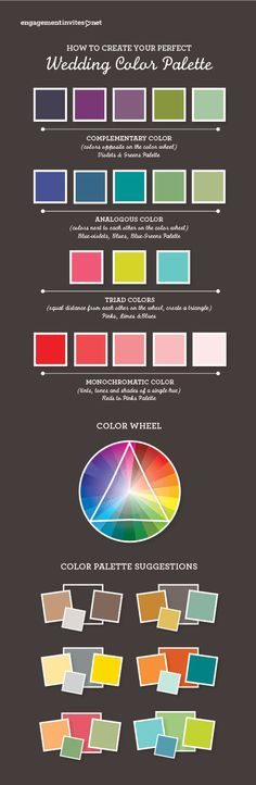 #colorpalette, #infographic, #theperfectpalette How to create your perfect wedding color palette! Check out free printables too.