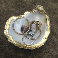 Oyster Shell Dish Gold Leaf Resin Finish 3 by JolieOystersbyAnna
