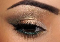 gold with green makeup