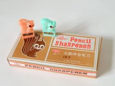 Memories  from the eighties △ Vintage Pencil Sharpener in the shape of squirrels. Found on etsy. #green