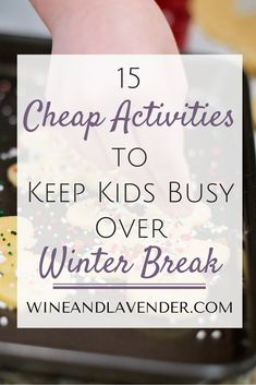 Keeping the kids busy during winter break can save your sanity! Here are a few tips to check out:15 Cheap Activities to Keep Your Kids Busy During Winter Break http://www.wineandlavender.com/mom-stuff/15-cheap-activities-to-keep-your-kids-busy-during-winter-break/
