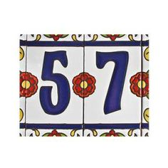 Decorative Tile House Numbers Nutmeg Designs House Number 44 In Blue Green With Evergreen Motif