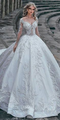 30 Ball Gown Wedding Dresses Fit For A Queen ❤ ball gown wedding dresses  princess lace sweetheart neck lace long sleeves said mhamad ❤ See more  ... 27e65a8ac6e3