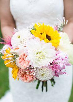 Peony Sunflower Dahlia Bouquet Flowers Bride Bridal Pink Yellow Outdoor Tipi Happy Bright Wedding http://hbaphotography.com/