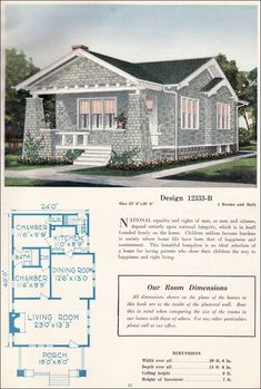 c. 1923 C. L. Bowes - 12333-B.  Bungalows were offered in spectacularly large styles and in small, affordable plans that appealed across the spectrum to almost every buyer interested in a modern home. This little house is just 960 sq. ft. and has the no-wasted space layout seen in small homes during the 'teens. Access to the bedrooms is via the bedroom and kitchen. A shared Jack and Jill bathroom connects them and completes the circular floorplan.