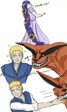 Naruto, Kurama and Hinata as Tangled