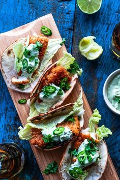 Mexican food! Spicy fish tacos with amazing avocado-dip