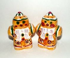 "Holiday Gingerbread Salt & Pepper Shakers by Alco. $15.00. Embossed. Hand Painted. Ceramics. Measures approximately 4 1/2"" H and 3"" Wide. Perfect for the Holiday Season"