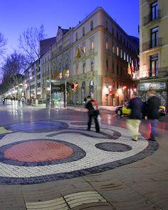 Barcelona, Las Rambles, mosaic de Joan Miró (Catalunya - Catalonia)