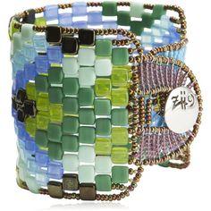 Ziio Women Pixel Beaded Bracelet (3,140 SVC) ❤ liked on Polyvore featuring jewelry, bracelets, ziio, bead jewellery, ziio jewelry, murano glass bead jewelry and beading jewelry