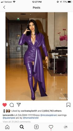 Cardi B Wore Queen Pee's (Pilar Vargas) Earrings at Paris Fashion Week Fashion Week Paris, Bill Cosby, Adidas Skateboarding, Cardi B Photos, Rae Sremmurd, Post Malone, Divas, Leather Dresses, Purple Dress