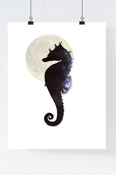 Seahorse wall art nautical art print poster by WhiteDoePrints