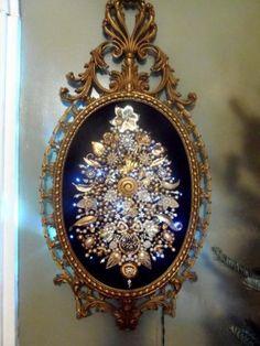 Huge-Superb-Vintage-Framed-Jewelry-Christmas-Tree-w-Lights-One-of-a-Kind-Art ebay $395