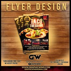 Top Flyer of the day! Taco Tuesday Party Flyer Designed by graphicwind We create an attractive Flyer design with a fast turn around time. For high-quality Flyer designs Contact us at web: www.graphicwind.com or please email us to graphicwind@gmail.com Flyer Design, Logo Design, 30th Party, Drink Specials, Taco Tuesday, Party Flyer, Creative Design, Party Time, Create