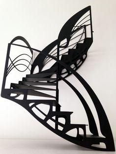 Escalier design double quart tournant de style Art Nouveau, dessiné par Jean Luc Chevallier pour La Stylique.