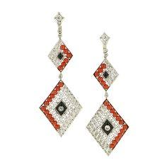 Stunning deco earrings. Doyle & Doyle   Earrings: Art Deco Style Diamond, Coral & Black Onyx Drop Earrings