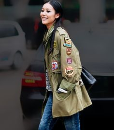 Girl Scout patches - might do this on my military jacket with my old patches when we get new uniforms Girl Scout Patches, Cargo Jacket, Khaki Jacket, Japanese Street Fashion, Fashion Mode, Military Fashion, Who What Wear, Passion For Fashion, Blazer