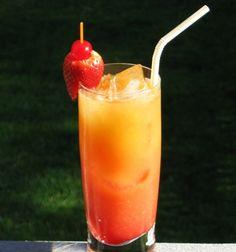 Jamaican Rum Punch (.5 oz. Bacardi 151 Rum .5 oz. Dark Rum .5 oz. Malibu Coconut Rum .5 oz. Pineapple Rum 2.5 oz. Pineapple Juice 2.5 oz. Orange Juice .25 oz. Lime Juice .5 oz. Grenadine)