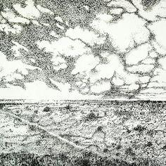 Pen and Ink Karoo Landscape Shag Rug, Annie, Ink, Landscape, Decor, Shaggy Rug, Scenery, Decoration, India Ink