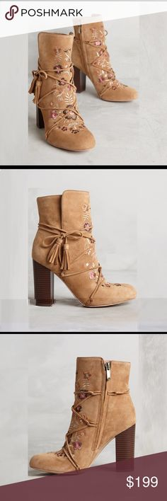 """ANTHROPOLOGIE Sam Edelman Winnie Boot tan suede Lux Suede embroidered boot by Sam Edelman.  Delicate floral embroidery and braided wraparound tassels elevate the suede stacked heeled bootie to must-have status. Style the Winnie with ultra-skinny denim and an oversized peasant blouse for an effortless, boho-lux look. Side Zip. Embroidered Suede. Leather insole, sole. 3.5"""" stacked heel; 5"""" height. Available in size 8 & 10 Anthropologie Shoes Ankle Boots & Booties"""