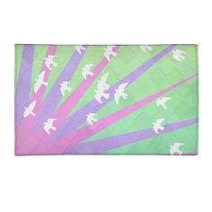 Toss-up with the other one Purple Area Rugs, Striped Rug, Green And Purple, Rug Size, Kids Rugs, Birds, Artwork, Prints, Unicorn
