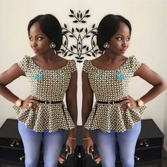 Today i get something for the beautiful ladies as usual and na Beautiful Ankara Peplum Tops Styles And Design wey dey trend for fashion industry African Fashion Ankara, Latest African Fashion Dresses, African Dresses For Women, African Print Dresses, African Print Fashion, Africa Fashion, African Attire, African Blouses, African Tops