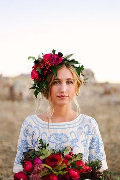 15 sugestões maravilhosas de acessórios de cabelo para noivas boho chic