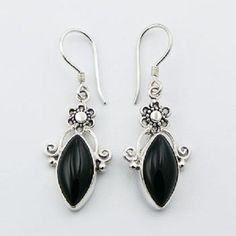 Handmade earrings black agate marquise cut 925 silver flower hook drop 41mm PSA