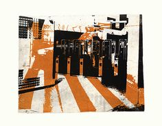 - Gates at the metro-station Bullewijk, subway of Amsterdam city - an unique monotype print, 2012 - graphic collage art, for sale