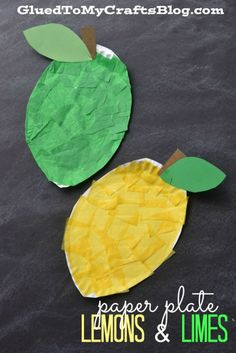 Paper Plate Lemon & Lime - Kid Craft Make small limes for each child. Since they're less tissue paper to complete Lemon Crafts, Fruit Crafts, Glue Crafts, Food Crafts, Letter L Crafts, Alphabet Crafts, Preschool Alphabet, Daycare Crafts, Preschool Crafts