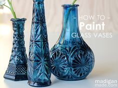DIY Cobalt Painted Glass (video tutorial) Thrift store vases Isopropyl alcohol Paint brushes Paper plate Blue transparent glass paint (like DecoArt Crystal Gloss Enamels ) Black (opaque) enamel glass paint (like DecoArt Americana Gloss Enamels )