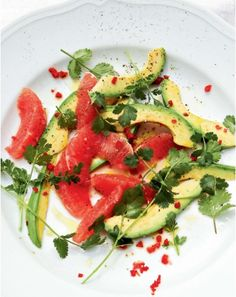 Avocado and Ruby Grapefruit with Chile from River Cottage Veg by Hugh Fearnley-Whittingstall