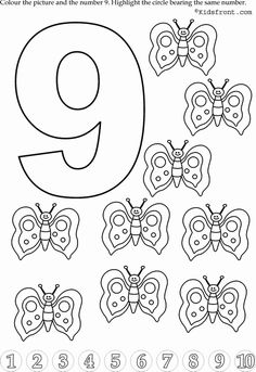 Kids Math Learning, Kids Math Activities, Numbers with Pictures - Nursery Math Printable Exercise Numbers For Kids, Numbers Preschool, Learning Numbers, Free Preschool, Preschool Printables, Preschool Crafts, Kindergarten Math Worksheets, Worksheets For Kids, Preschool Activities