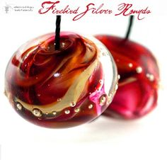 new! Firebird Silver Glass Round Beads handmade lampwork | beadsandbotanicals - Jewelry on ArtFire