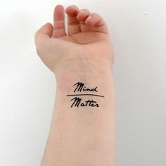 Temporary Tattoo  Set of 2  Quote Mind over Matter by Siideways