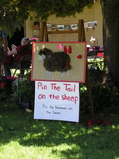 INDOOR Pin the tail on the sheep! Would be cool to make and put in the barn at the fair.