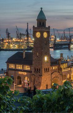 Hamburg Landungsbrücken Pegelturm | Hamburg Europe, Hamburg Germany, Germany Travel, Belle Photo, Wonders Of The World, Big Ben, Beautiful Places, Scenery, Places To Visit