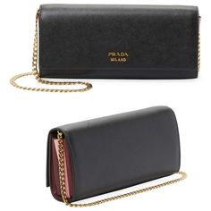 3c9e8fb2e3c8 Prada Biblioteque Saffiano Leather Chain Clutch Bag - Meghan Markle's  Handbags