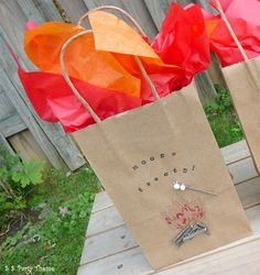 """campfire birthday party ideas   ... Bag for Camping, Smores / Birthday """"Campfire ...   Kid Party The"""