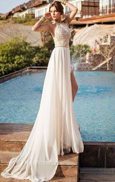 White Plain Lace Side Slits Backless Round Neck Sleeveless Halter Chiffon Maxi Dress - Maxi Dresses - Dresses