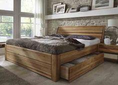 Massivholzbett Modell Loft. Modernes Bett mit 2 Schubladen in Komforthöhe mit zweigeteiltem Rahmenkopfteil- alle Teile aufwendig in Eiche massiv geölt gearbeitet und frei von Schadstoffen- Qualität &...