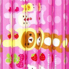 Rilakkuma as bunny pencil set 12pcs with stawberries @Kawaii Shop modes4u.com