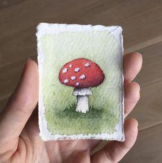 Mushroom Paint, Tiny Mushroom, Mushroom Drawing, Watercolor Art Lessons, Watercolor Paintings, Watercolour, Cool Art Drawings, Art Drawings Sketches, Arte Indie